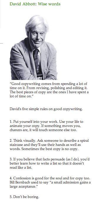 David Abbott Words Of Wisdom Copywriting